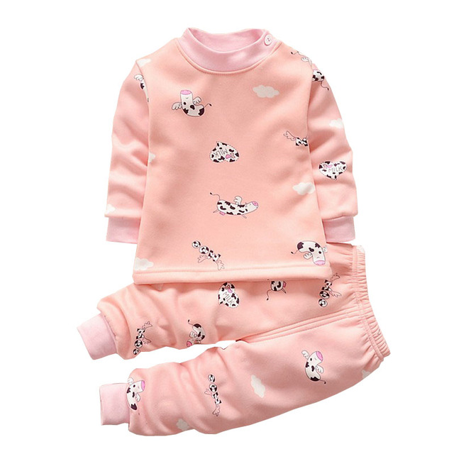 New Autumn Winter Warm Clothing Sets Newborn Baby Boys&girls Kawaii Cartoon Printed Underwear Soft Long Sleeved Top+Pant Suit