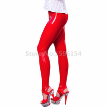 Women Rubber Red Foot Pants Latex Trousers Stepping on Leggings LTW060