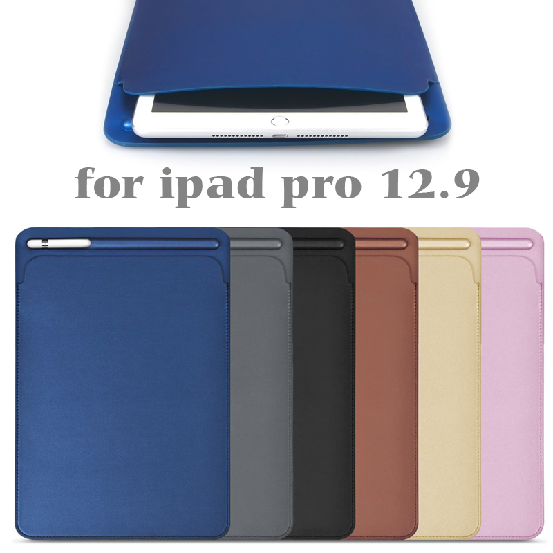 Premium PU Imitation leather Sleeve Case for iPad Pro 12.9 2017 Pouch Bag Cover with Pencil Slot for iPad Pro 12.9 2015 цена