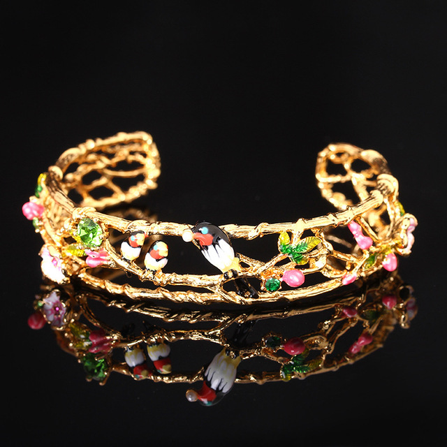 French Les Nereides Swallows Flower Gem Bracelets Bangles For Women Luxury Elegant Bracelet Bangles Brand Jewelry