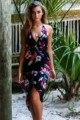 Mulheres Sexy Chiffon Praia irregular Vestido Assimétrico 2017 Bohemia Halter Vestidos de Verão Elegante decote em v Vestido floral fábrica