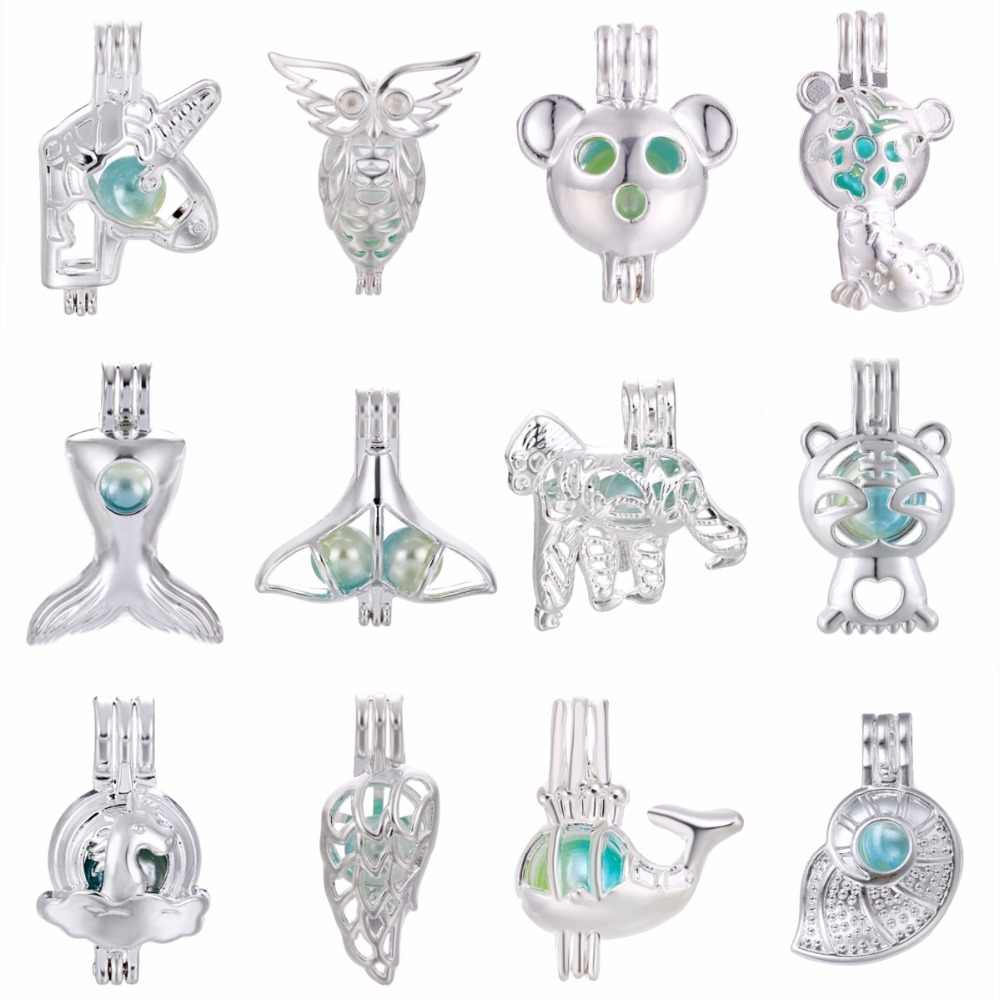 5pcs Silver Owl Unicorn Pearl Cage Locket Essential Oil Diffuser Necklace Charms for Oyster Pearl DIY Earring Making Pendant