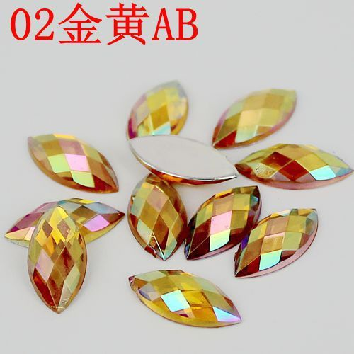 7*15mm Clear Crystal AB Rhinestones Flatback Acrylic Gems Horse Eye Fancy Navette Strass Crystals Stones For Clothes Crafts