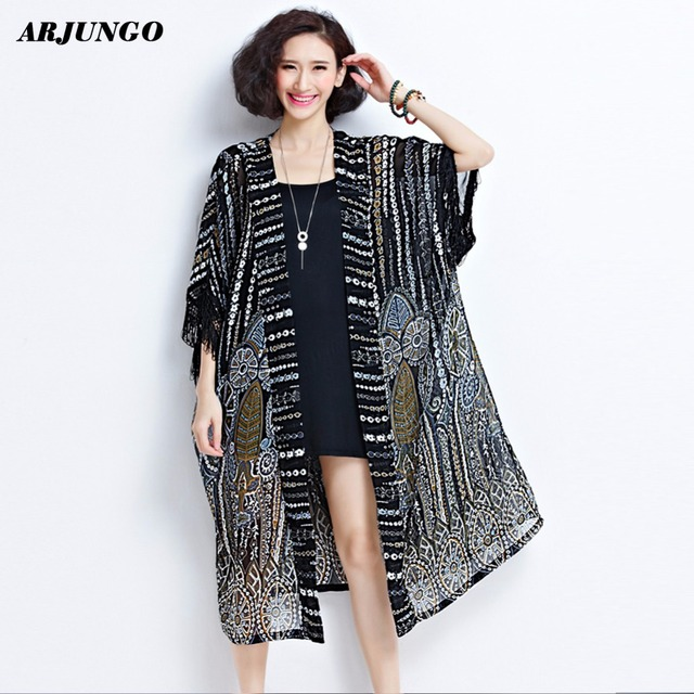 ARJUNGO summer chiffon Kimono women loose Large size plus size ...