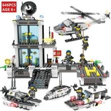 646Pcs City Police SWAT Command Coast Guard Helicopter Building Blocks Creator DIY Bricks Educational Toys for Children недорого