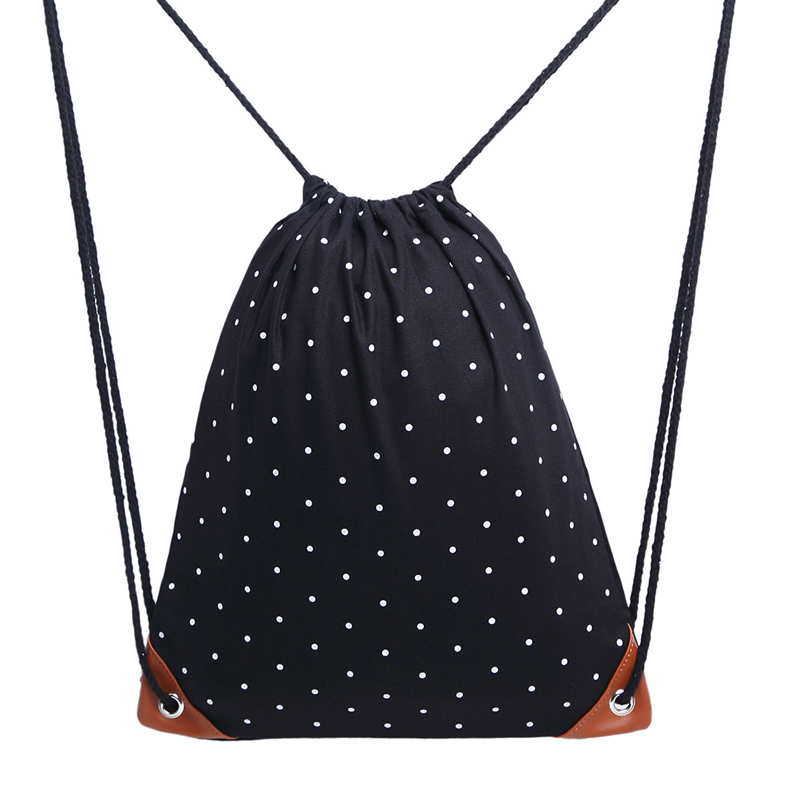 15PCS LOT Fashion Drawstring Bag Portable Dot Canvas Women Men Backbag Travel Bags Portable Beach Pouch