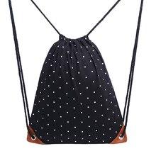 15PCS / LOT Fashion Drawstring Bag Portable Dot Canvas Women Men Backbag Travel Bags Portable Beach Pouch