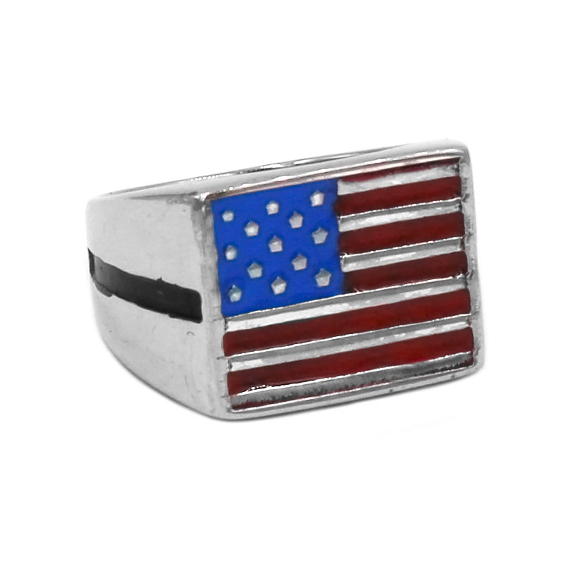 Classic American Flag Biker Ring Stainless Steel Jewelry Vintage USA Flag Motor Biker Ring For Mens Boys Wholesale SWR0789