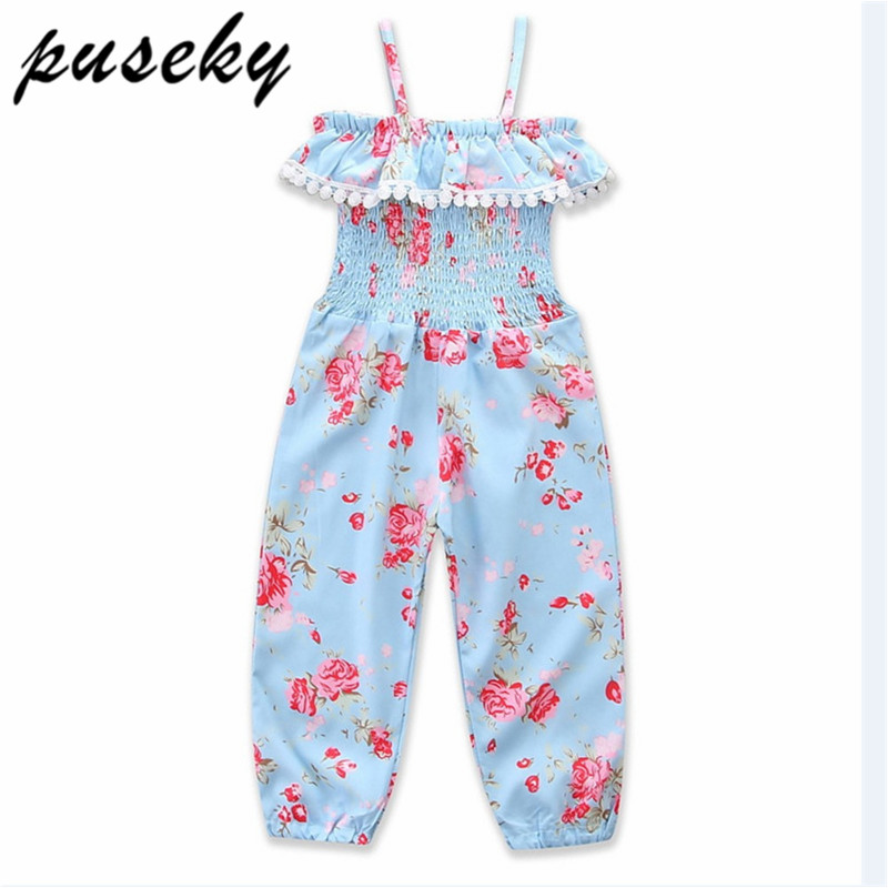 5f8014e1abe Puseky 2018 Summer Girls Kids Casual Beach Overall Child Teen Girl Princess  One-piece Playsuit Jumpsuit Children Overalls Floral