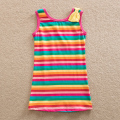 Neat wholesale new style sleeveless comfortable long T-shirt striped pattern cotton baby girl clothes children t shirts SH602