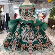 LS98550 pretty green puffy flower girl dresses o-neck short sleeve floor length lace dresses pageant dresses for little girls