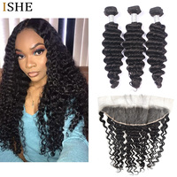 ISHE HAIR Brazilian Deep Wave Lace Transparent Frontal With Baby Hair Double Weft Remy Human Hair 3 Bundles Natural Black Color