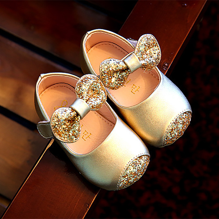 Girls shoes spring/autumn leather shoes children baby girls toddler shoes non-slip soft bottom bow princess shoes kids infant
