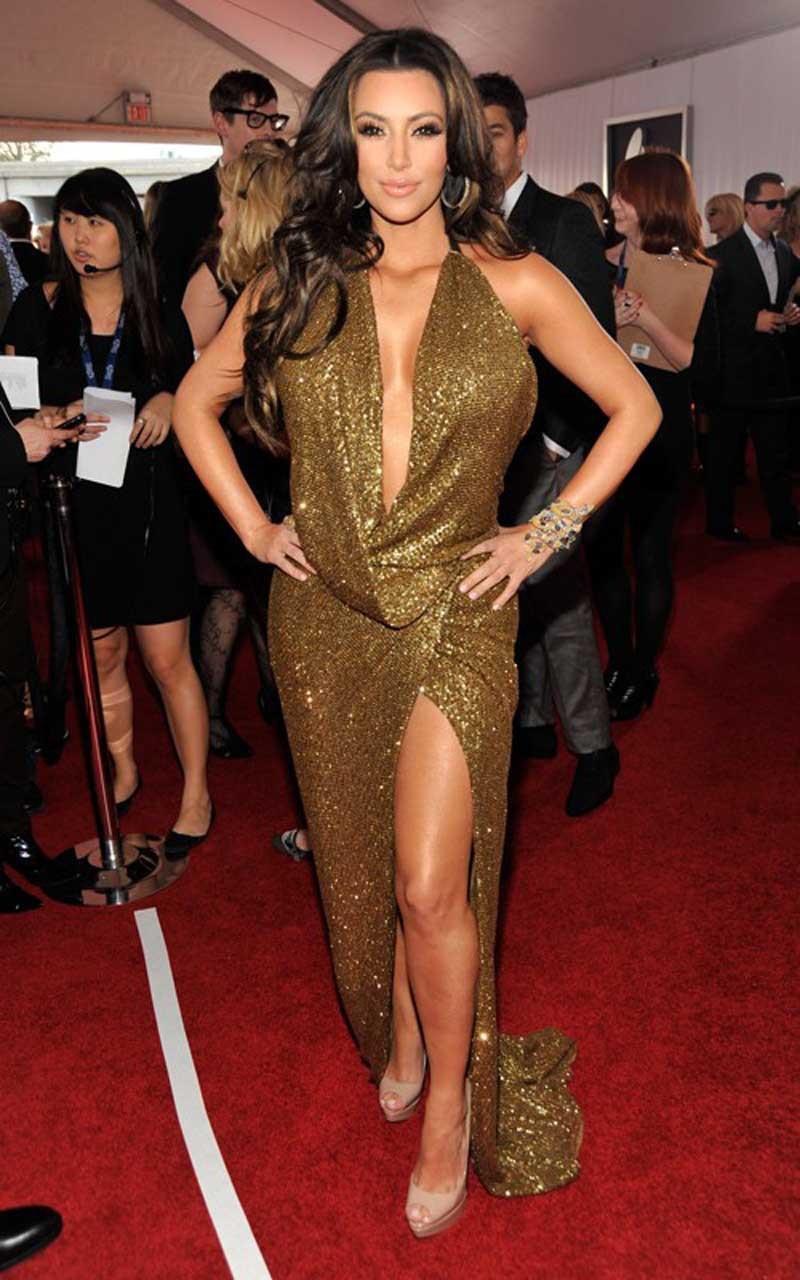 IMH003 Vestido De Festa 2017 Gold Lace Sequin High Slit Backless Kim Kardashian Red Carpet