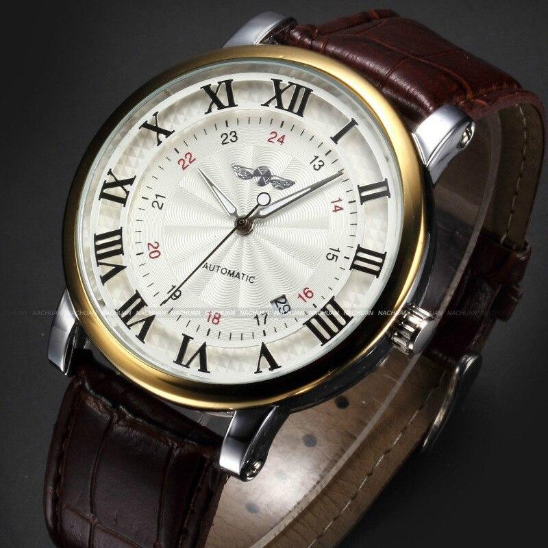 Relojes de pulsera deportivos dorados de marca con el mejor vencedor de los hombres de la manera del número de roma reloj mecánico automático del reloj de cuero del calendario
