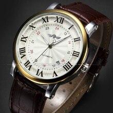 Часы наручные WINNER Мужские механические, модные брендовые золотистые спортивные автоматические с автоподзаводом, с календарем и кожаным ремешком, с римскими цифрами
