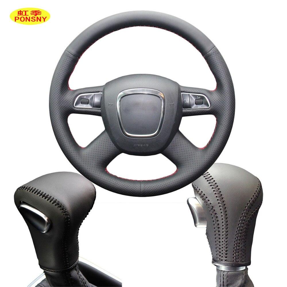 PONSNY Car Steering/Gear Genuine Leather Covers Case for Audi Old A4 B7 B8 A6 C6 Q5 Q7 Auto DIY Hand-stitched Wheel Cover