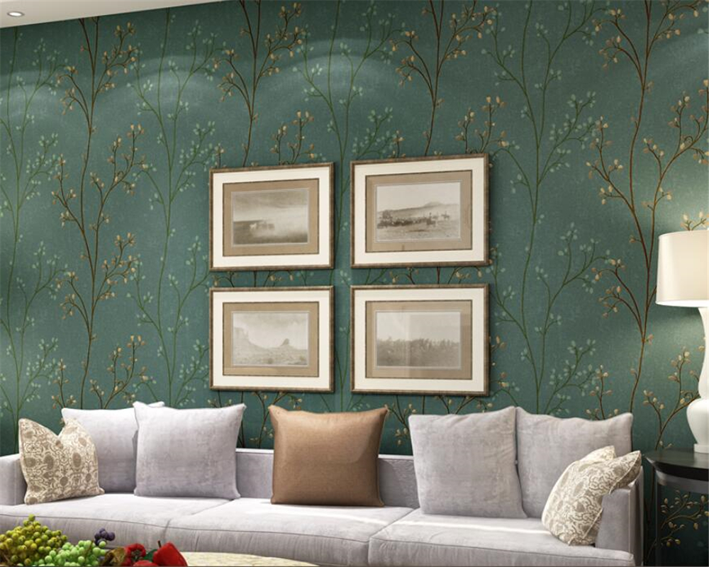 Beibehang Modern mural Green Gray Wall paper Saplings Living Room Bedroom Wallpaper TV desktop Sofa Background Wallpaper roll beibehang modern small fresh garden flocking deerskin wallpaper for living room bedroom tv background floral wall paper roll