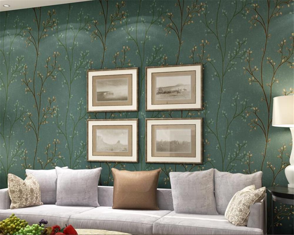 Beibehang moderne mural vert gris papier peint Saplings salon chambre papier peint TV bureau canapé fond papier peint rouleau