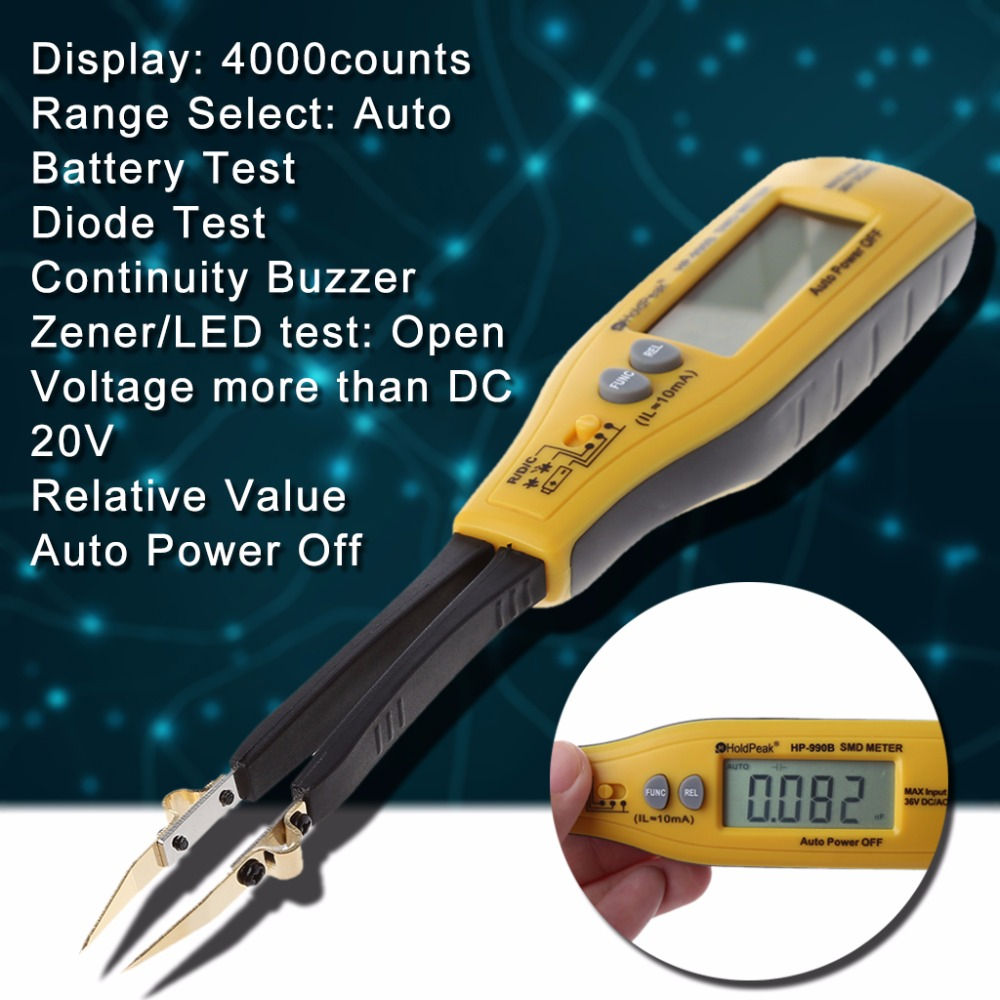 все цены на HoldPeak Digital Multimeter Professional SMD Tester Resistance Capacitance Diode Meters 4000 Count LCD Display онлайн