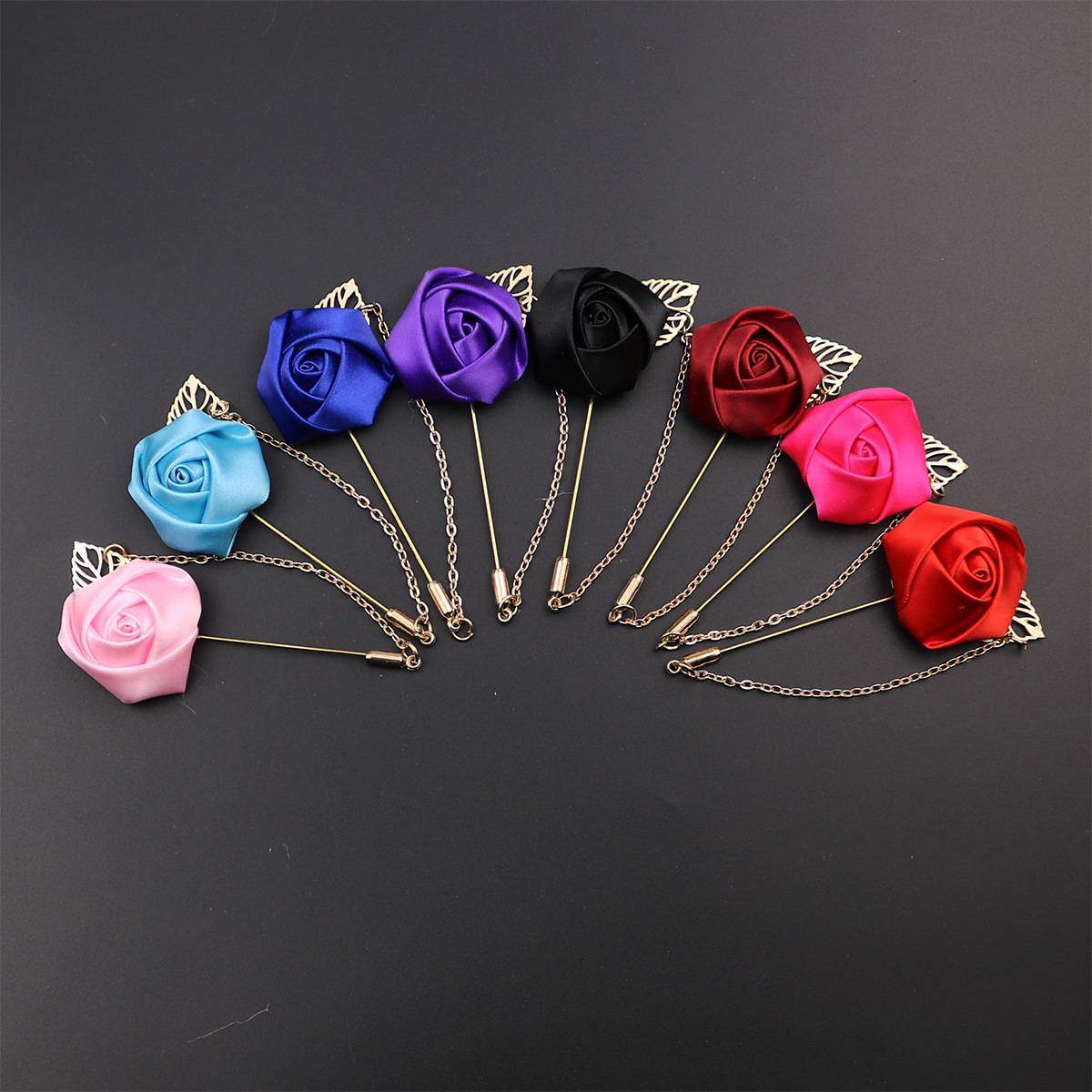 Gold Color Foliage Red Rose Brooch Corsage Collar Flowers Long Needle With Chain Lapel Pin Formal Suit Shirt Broche Acessorios