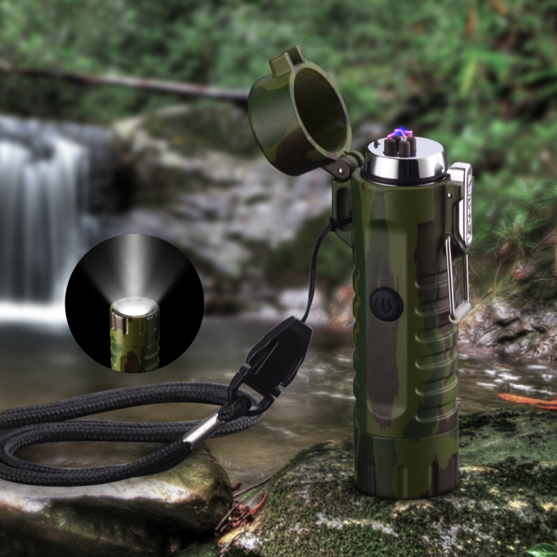 Multifunctional Usb Waterproof Double Arc Charging Lighter With Flashlight Led Lamp