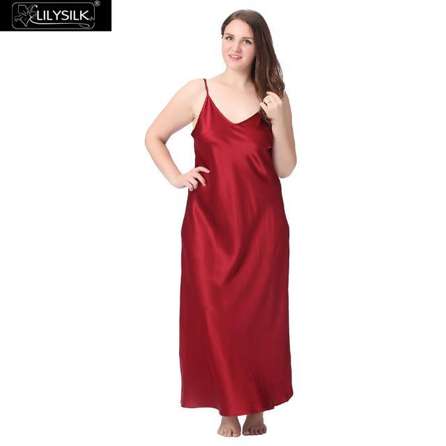 4114d23d3a Lilysilk 100% Silk Nightgown Women Plus Size 22 Momme Deep Scoop Back Sleep  Dress Luxury