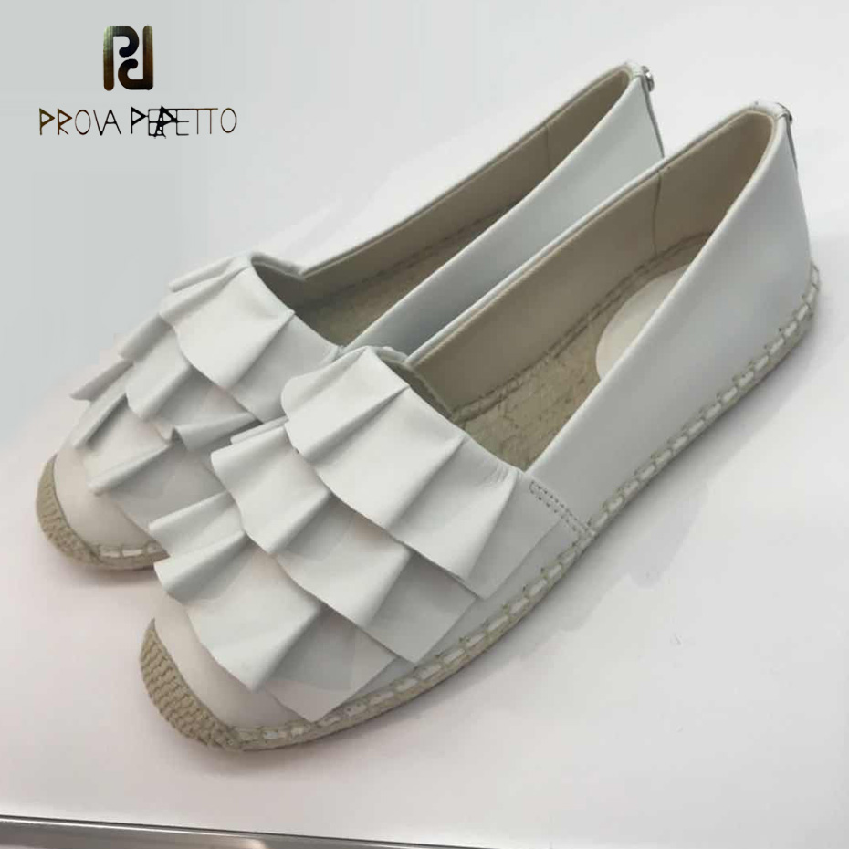 Prova Perfetto new fashion ruffles design fisherman shoes straw weaving sole black white real leather slip on women casual shoe casual women s satchel with weaving and buckle design
