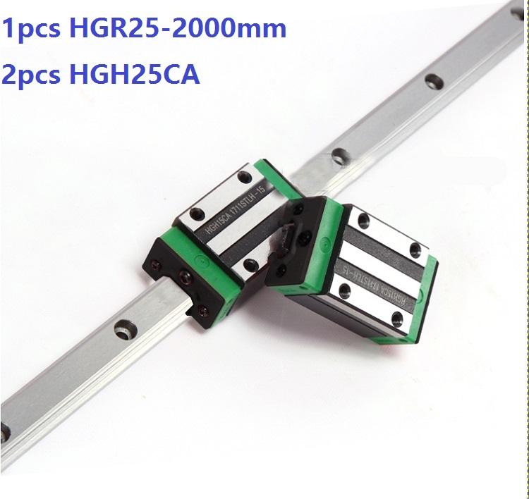 1pcs linear guide rail HGR25 2000mm + 2pcs HGH25CA linear narrow blocks for CNC router parts Made in China akg6090 made in china high quality desktop mini cnc router 4060 for sale