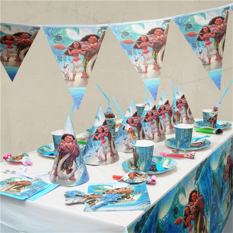 152 Moana Theme Cartoon Party Tableware Cup Straw Plate Napkins Candy Box Banner Flags Kid's Birthday Party Decorations Supplies