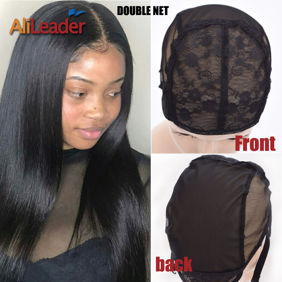2018 Top Selling Glueless Double Net Lace Caps For Making Wigs Stretchable Elastic Weaving Cap Large Black Wigs Cap 52-58CM S-XL