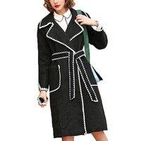 Женское пальто 2019 зимнее пальто модное высокое качество пальто длинное женское Шерстяное однотонное тонкое шерстяное пальто с лацканами