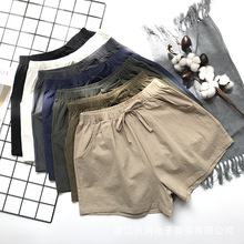Summer Women High Waist Shorts Casual Loose Solid Pockets Cotton Shorts Elastic Leisure Home Lace Up Skirt Shorts Korean Style casual style high waist solid color cotton blend skirt for women