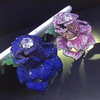 Голубая роза цветок Брошь контакты 925 серебро с фианит большой цветок брошь для пальто преувеличивать моды для женщин ювелирные изделия