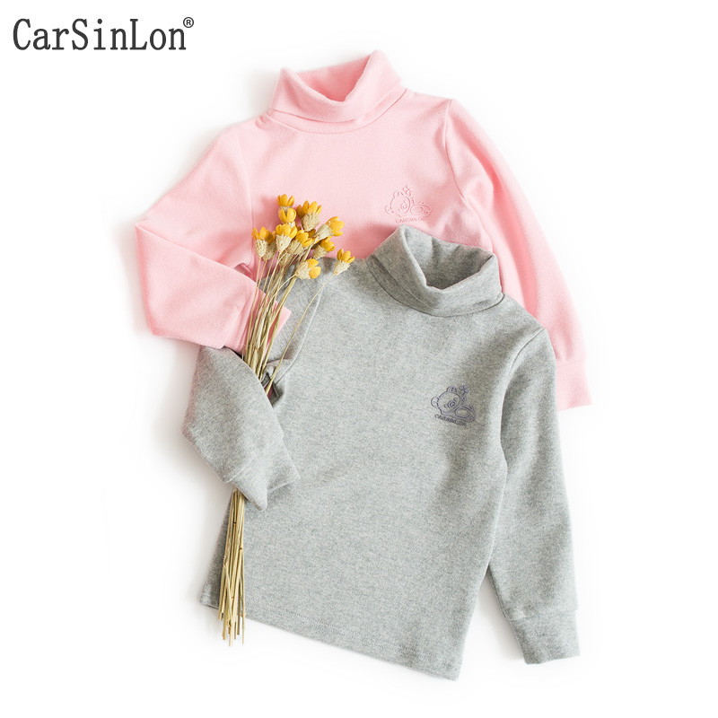 Kids Thermal Underwear Bottoming Shirt Autumn Winter Long-Sleeved Turtleneck Cotton Candy Colors Baby Boys and Girls T-shirts