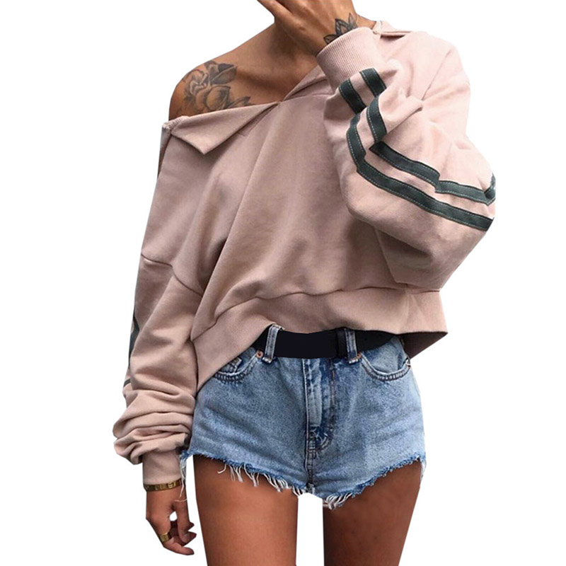 2018 New Women Hoodies Spring Autumn Cute Pinkycolor Hoodies Long Sleeve Loose Crop Top Sweatshirt Casual Patchwork Cloth