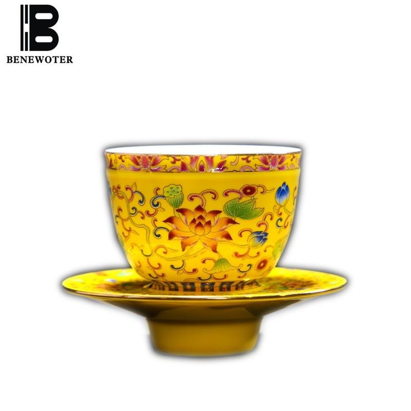 60ml Jingdezhen Vintage Color Enamel Ceramic Porcelain Golden Tea Cup Painted Lotus Teacup for Brewing Puer Tea Coffee Granules