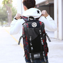 Mens Oxford cloth large-capacity travel bag Waterproof and wearable middle school student Vertical square computer backpack
