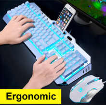 цена Wired Gaming Keyboard 104 Keys Backlit Keyboards Mouse Combo Metal Panel Gamer Keyboard Russian Stickers For Desktop PC Tablet онлайн в 2017 году