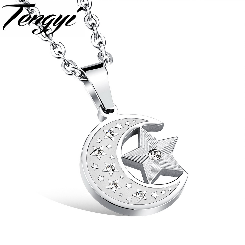 Fashion Stars Moon Stainless Steel Crystal Rhinestone Pendant Necklaces With Chain Best Gift For Man Women Lady Jewelry TY1078