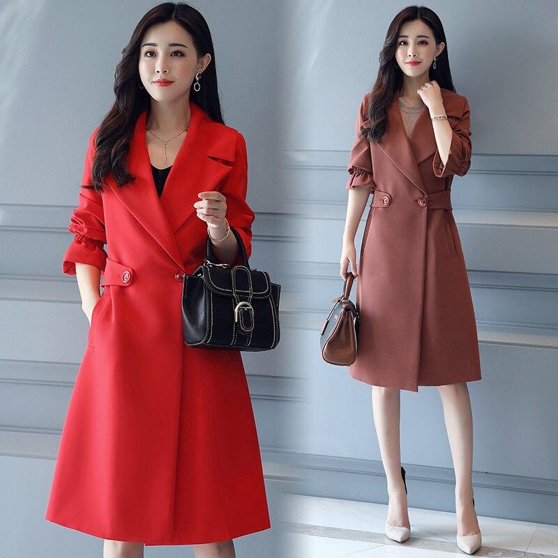 1 3 Couleur Casual Kaki Vêtements Survêtement Automne De 4 Trench Manteau Outwear Mince Femmes Nouveau Mode Printemps 2 Pour Pure Élégant Long thsxQdCr