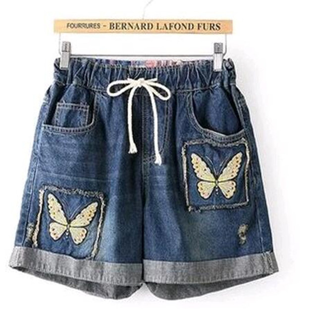 2017 Summer VintageNational Trend Applique Embroidery  Jeans  Loose Casual  Plus Size Shorts Female