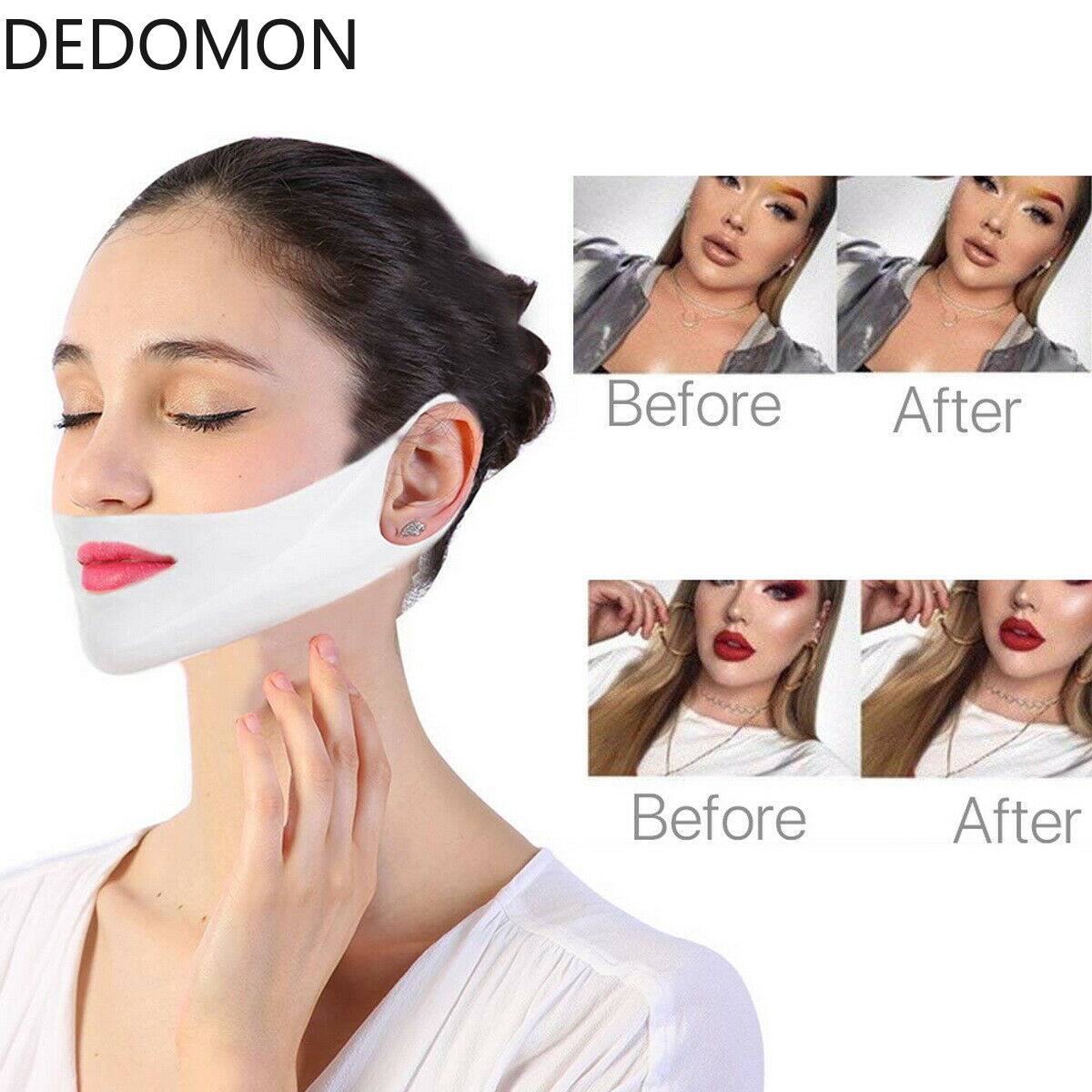 1pcs 4D Double V Face Shape Tension Firming Mask Paper Slimming Eliminate Edema Lifting Firming Thin Masseter Face Care Tool Бюстгальтер