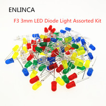 100pcs/lot F3 3MM Round Green Yellow Blue White Red Orange LED Light COMPONENT Diode DIY kit Purple Pink Jade green warm white(China)