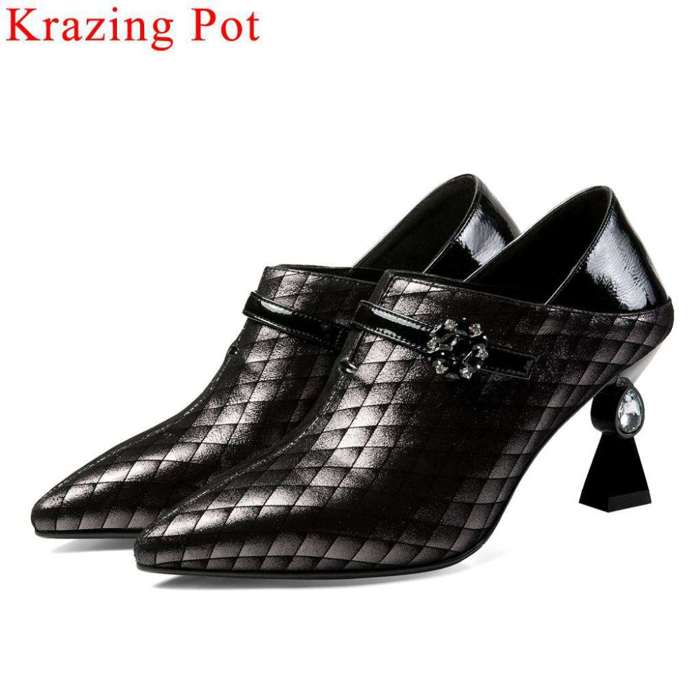European style large size crystal high heels mixed colord slip on pumps luxury sheep leather pointed toe dress suit shoes L18European style large size crystal high heels mixed colord slip on pumps luxury sheep leather pointed toe dress suit shoes L18
