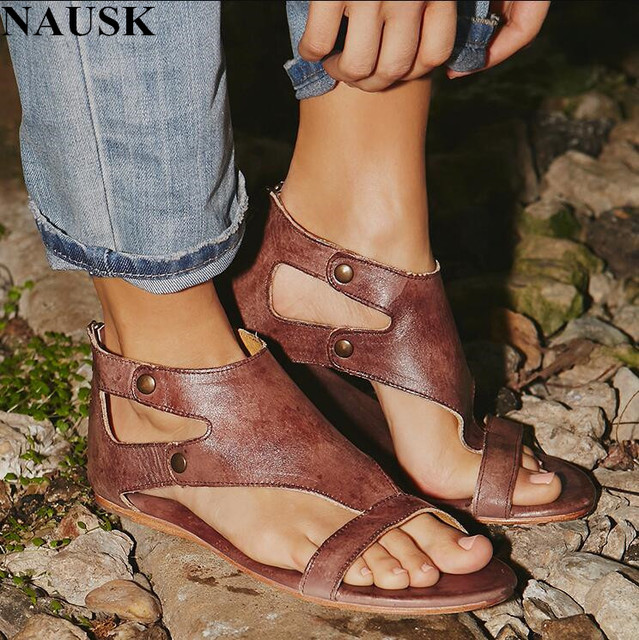 ac9f1fb2291a NAUSK 2018 Summer Fashion Women Sandals Flats Cork Gladiator Beach Shoes  Rivet Sandals Zapatos Mujer Sandalias Plus Size 42