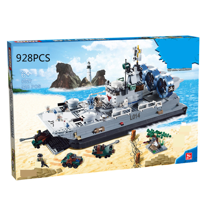 hot compatible LegoINGlys military Building Blocks Russian Marines Bison cushion landing ship with figures Weapons brick toys 8 in 1 military ship building blocks toys for boys
