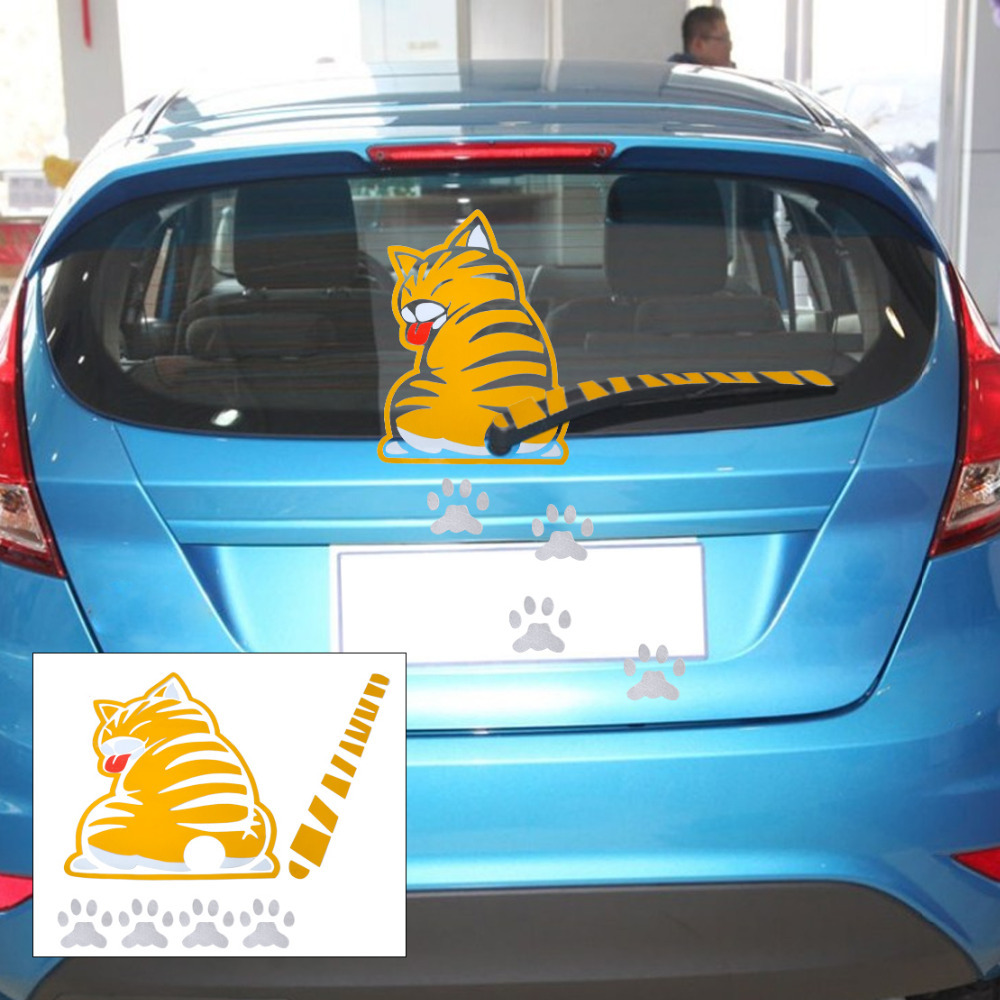 Car window sticker designs - New Yellow Cat Pet With Wagging Tail Paw Car Rear Windshield Window Wiper Sticker Decal For