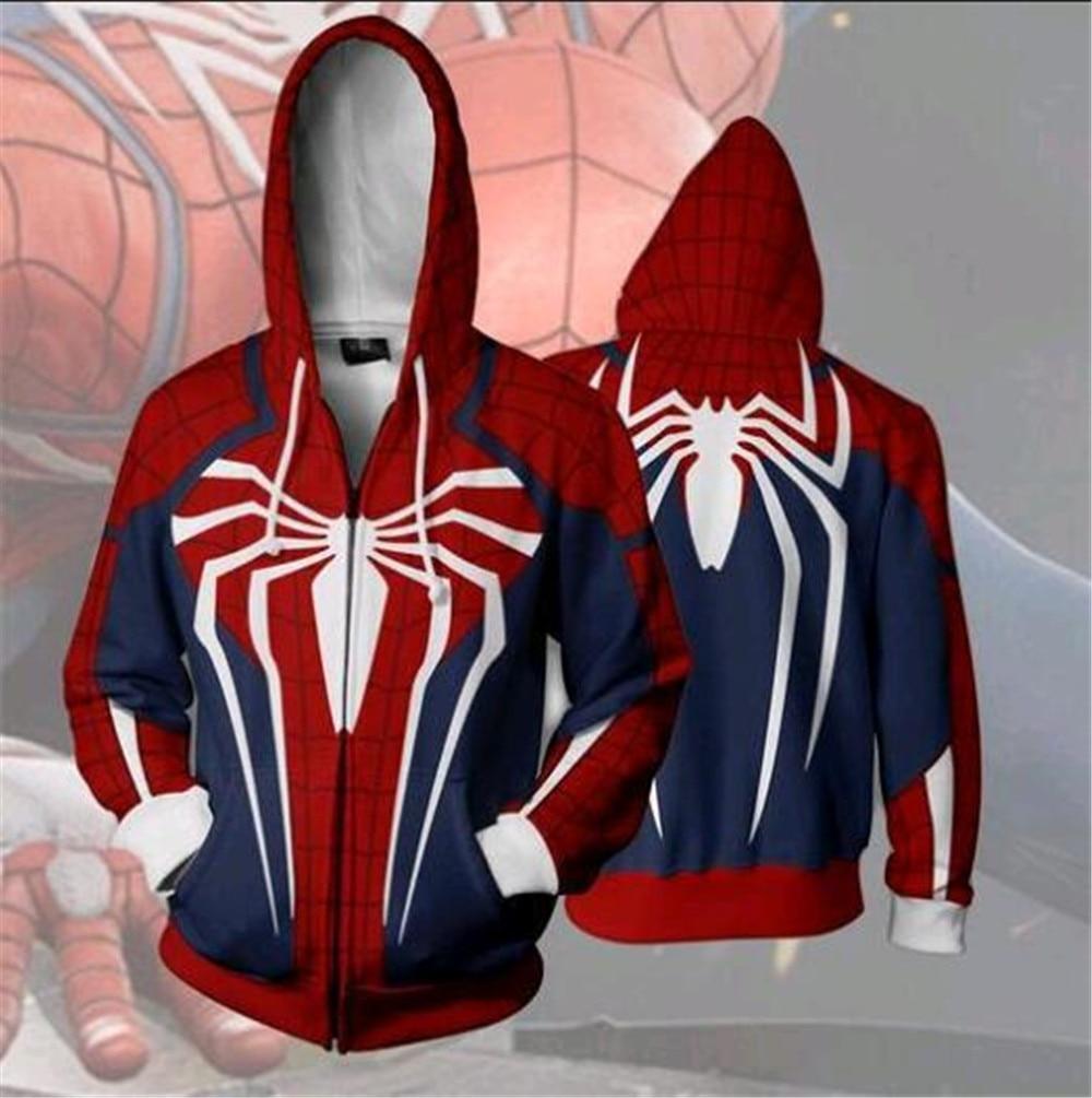 Nuovi Prodotti 0dd9d 28e3a US $21.6 35% di SCONTO|PS4 insonne Spider Man Con Cappuccio Felpe Manica  Lunga Della Chiusura Lampo Degli Uomini In Maschera di Spiderman Con ...