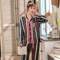 2019 New 2 Pieces Pajamas Set Striped Printed Faux Silk Women Sleepwear Pajama Satin Long Sleeves Spring Summer female Homewear